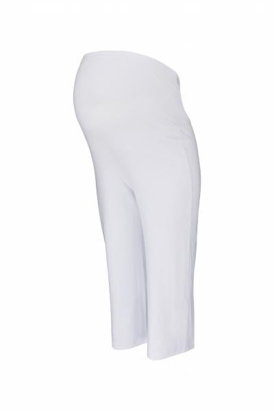 Be MaaMaa Těhotenské 3/4 tepláky s elastickým pásem - bílé, vel. L, Velikost: L (40)