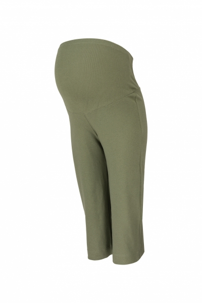 Be MaaMaa Těhotenské 3/4 tepláky s elastickým pásem - olivové, vel. XL
