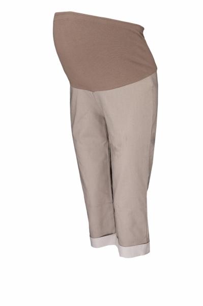 Těhotenské 3/4 kalhoty s elastickým pásem - béžové