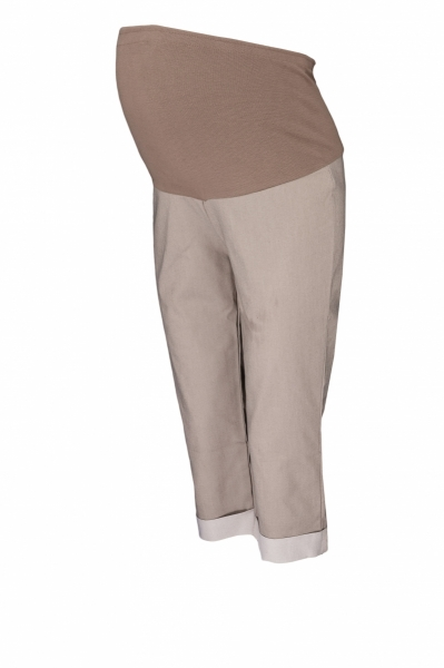 Těhotenské 3/4 kalhoty s elastickým pásem - béžové, vel. M