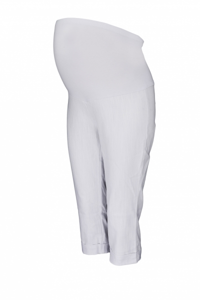 Be MaaMaa Těhotenské 3/4 kalhoty s elastickým pásem - bílé