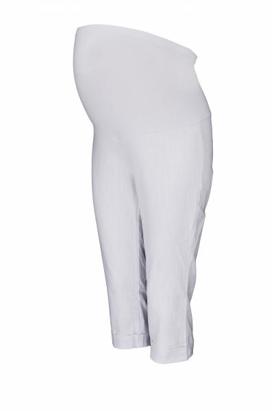 Be MaaMaa Těhotenské 3/4 kalhoty s elastickým pásem - bílé, vel. M
