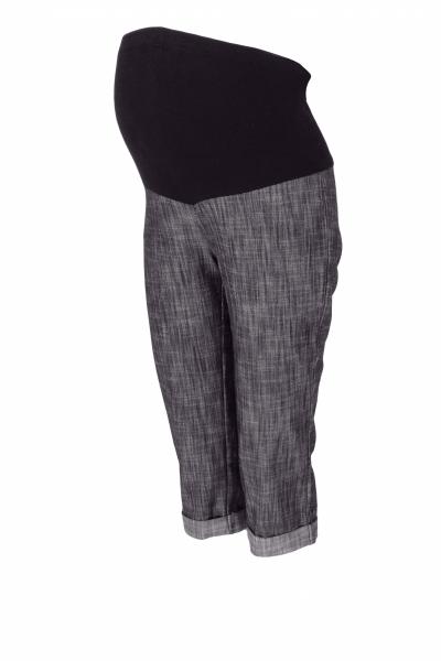 Be MaaMaa Těhotenské 3/4 kalhoty s elastickým pásem - černé/melírované, vel. XL