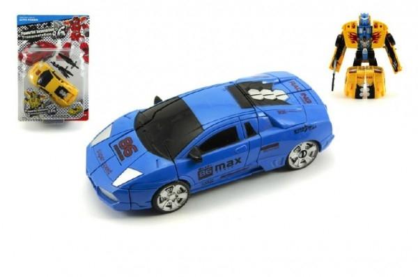 Transformer auto/robot s doplňky plast 16cm asst 2 barvy na kartě
