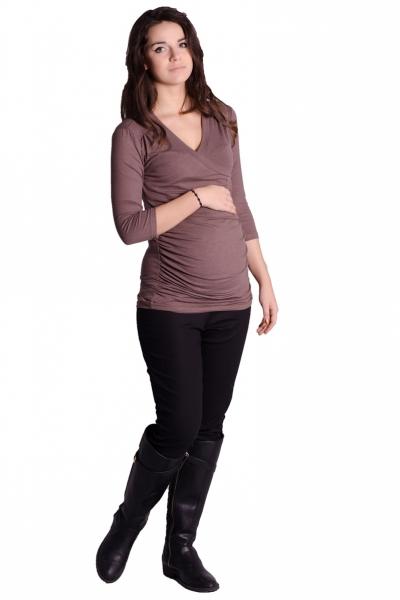 Be MaaMaa Těhotenské, kojící triko 3/4 rukáv - cappucino