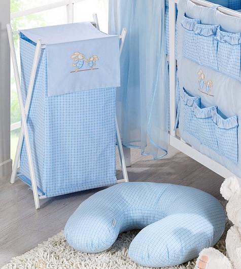 Luxusní praktický koš na prádlo - ZAJÍČCI modří kr.