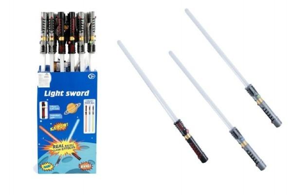 Meč svítící plast 72cm na baterie měnící zvuk dle pohybu se světlem asst 3 barvy 24ks