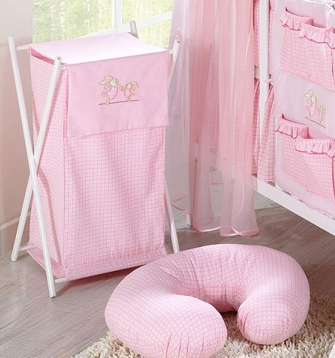 Luxusní praktický koš na prádlo - ZAJÍČCI růžoví kr.