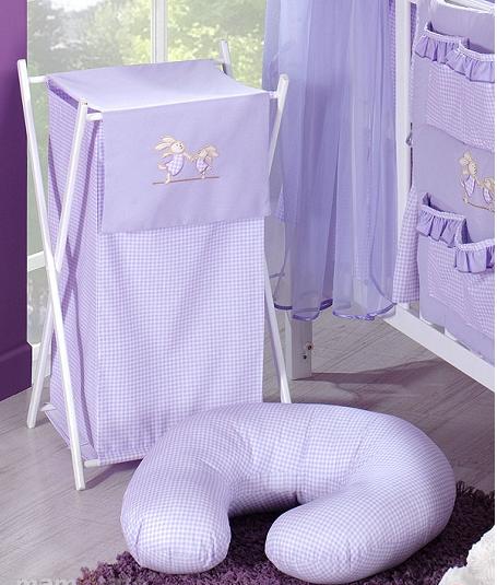 Luxusní praktický koš na prádlo - ZAJÍČCI fialoví kr.