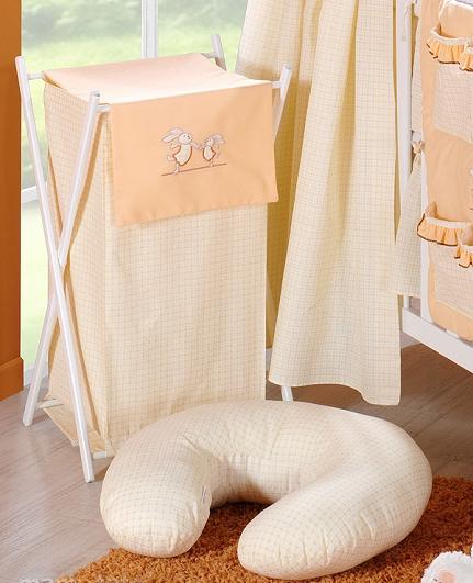 Luxusní praktický koš na prádlo - ZAJÍČCI broskev kr.