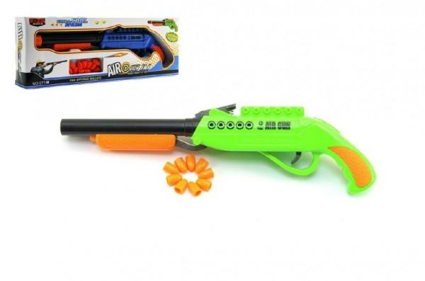 Pistole špuntovka dvouhlavňová plast 27cm asst 2 barvy v krabici