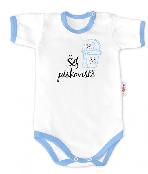 Baby Nellys Body krátký rukáv - Šéf pískoviště - bílé/modrý lem, vel. 86
