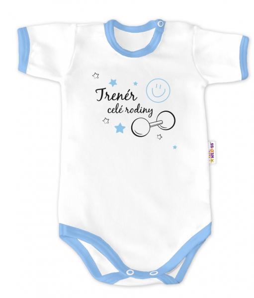 Baby Nellys Body krátký rukáv - Trenér celé rodiny - bílé/modrý lem, vel. 86