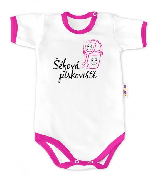Baby Nellys Body krátký rukáv - Šéfová pískoviště - bílé/růžový lem, vel. 86