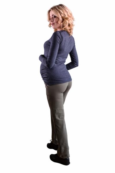 Be MaaMaa Těhotenské kalhoty s elastickým pásem a kapsami - černé, vel. L