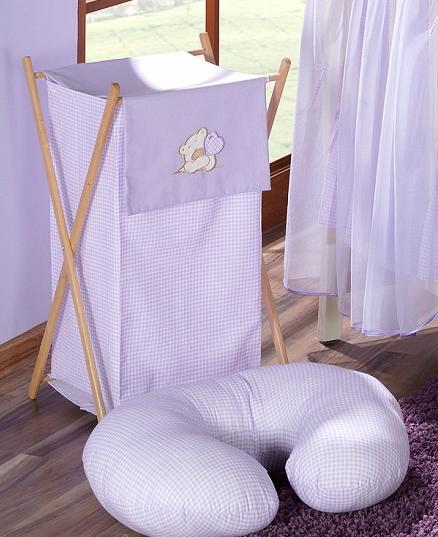 Luxusní praktický koš na prádlo - MEDVÍDEK SE SRDÍČKEM fialový
