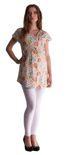 Be MaaMaa Těhotenská asymetrická tunika s barevnými květy - lososová, vel. L/XL