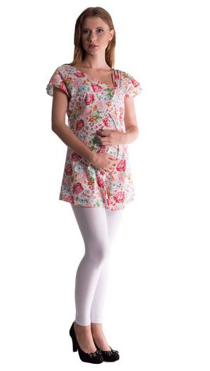 Těhotenská asymetrická tunika s barevnými květy - červená, Velikost: S/M