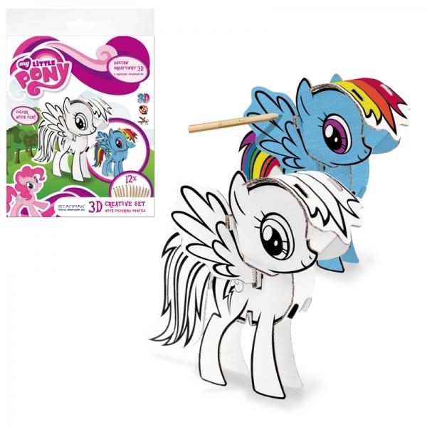 Kreativní Sada 3D k vymalování + pastelky 12 barev My little Pony