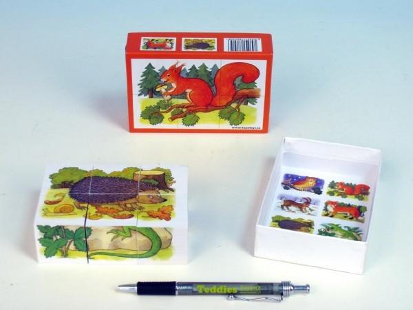 Kostky kubus Lesní zvířátka dřevo 6ks v krabičce 12,5x8,5x4cm
