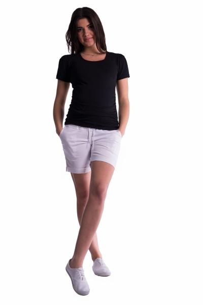 Be MaaMaa Těhotenské kraťasy s elastickým pásem - bílé, vel. XXXL