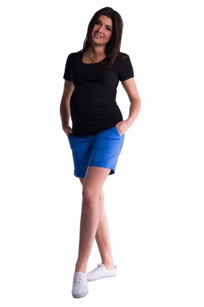 Be MaaMaa Těhotenské kraťasy s elastickým pásem - modrá/mořská, vel. L