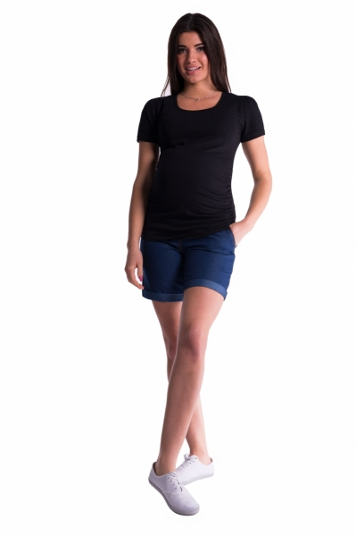 Be MaaMaa Těhotenské kraťasy s elastickým pásem - tm. modrá