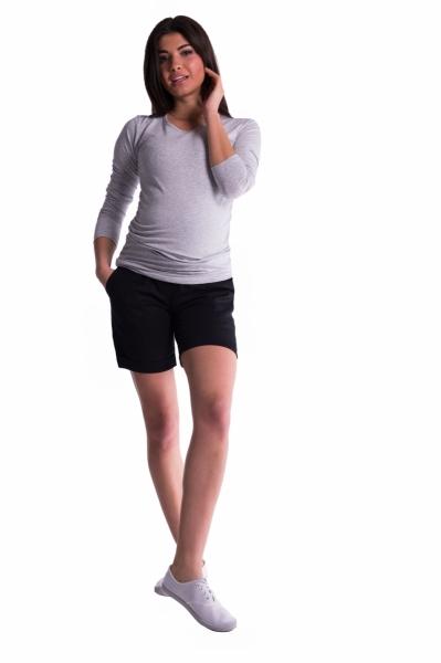 Těhotenské kraťasy s elastickým pásem - černé, vel. XL, Velikost: XL