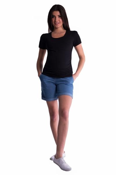 Be MaaMaa Těhotenské kraťasy s elastickým pásem - sv. modré