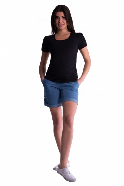 Be MaaMaa Těhotenské kraťasy s elastickým pásem - sv. modré, vel. XL