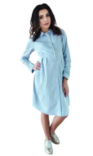Be MaaMaa Těhotenské šaty/tunika dl. rukáv - modré, vel. L