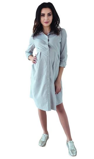Be MaaMaa Těhotenské šaty/tunika dl. rukáv - černo/bílé, vel. L, Velikost: L (40)