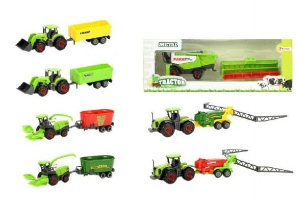 Traktor s vlečkou plast 16cm asst 5 druhů v krabičce