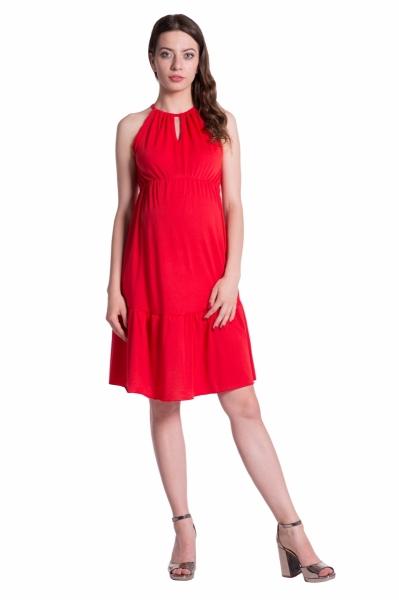 Be MaaMaa Letní těhotenské šaty na ramínkách - červené