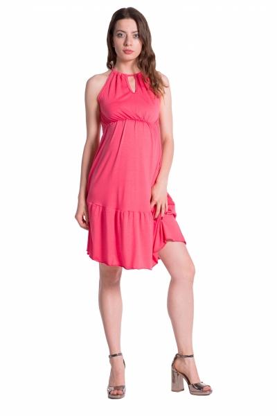 Be MaaMaa Letní těhotenské šaty na ramínkách - korálové