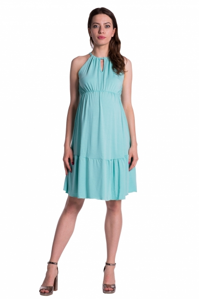 Be MaaMaa Letní těhotenské šaty na ramínkách - mátové, Velikost: UNI