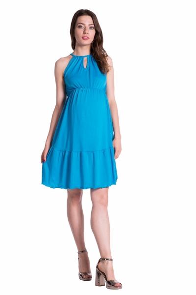 Be MaaMaa Letní těhotenské šaty na ramínkách - modré