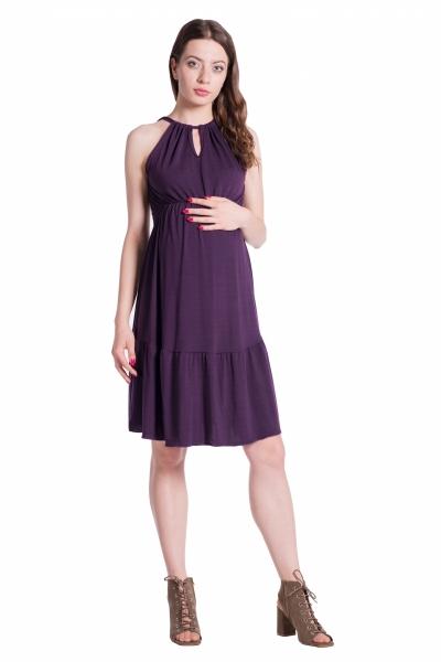 Be MaaMaa Letní těhotenské šaty na ramínkách - švestkové, Velikost: UNI