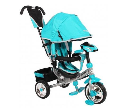 Dětská tříkolka Lux Trike s vodící tyčí a led světly - modrá/tyrkysová