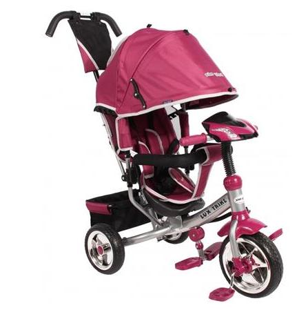 Dětská tříkolka Lux Trike s vodící tyčí a led světly - růžová