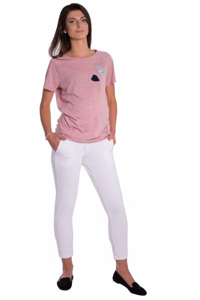 Be MaaMaa Těhotenské 3/4 kalhoty s odparátelným pásem - bílé, vel. XL