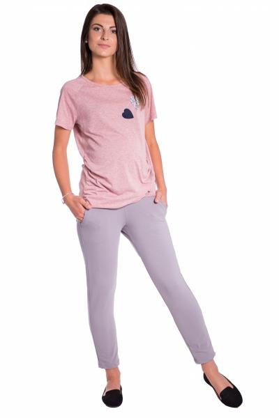 Be MaaMaa Těhotenské 3/4 kalhoty s odparátelným pásem - šedé, vel. S