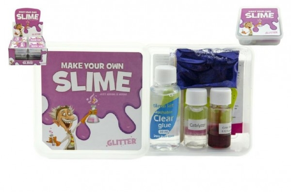 Sada na výrobu slizu glitter asst 3 barvy v plastové krabičce 12ks v boxu
