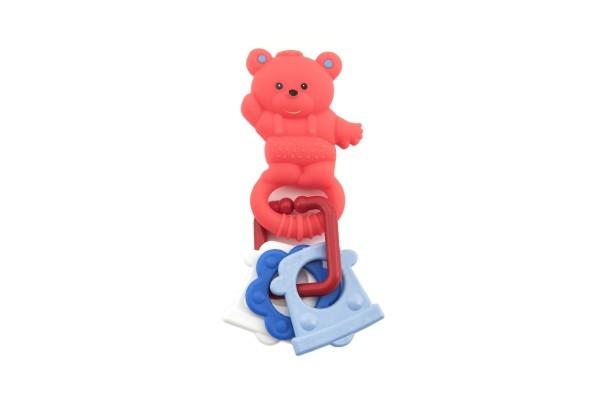 Zvířátko gumové+chrastítko plast 11cm asst 5 druhů 2ks v sáčku