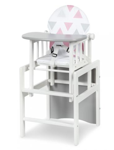Klups Jídelní židlička Anežka II De Luxe bílá/šedá - Trojúhelníky