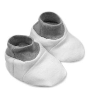Baby Nellys Botičky, ponožtičky,Little prince, princess bavlna  - bílé s čer.,šedým lemem