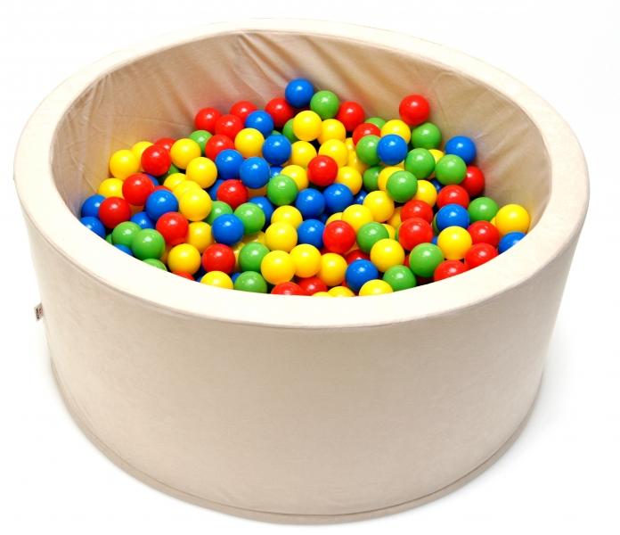 NELLYS Bazén pro děti 90x40cm kruhový tvar + 200 balónků - béžový, Ce19