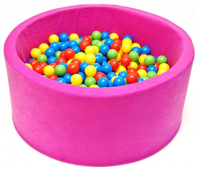 NELLYS Bazén pro děti 90x40cm kruhový tvar + 200 balónků - růžový, Ce19