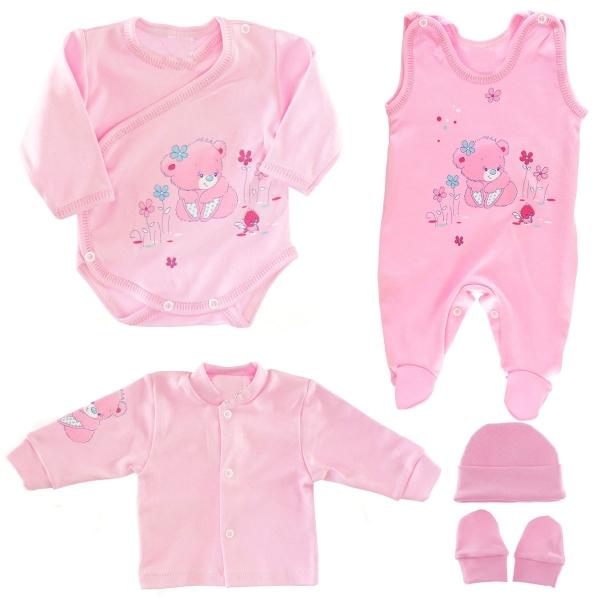 Soupravička do porodnice 5D - Méďa růžový, roz. 62