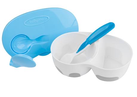 BabyOno Uzavíratelná dvoukomorová miska s lžičkou - modrá